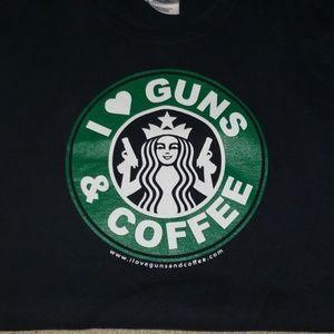Guns & Coffee tee shirt